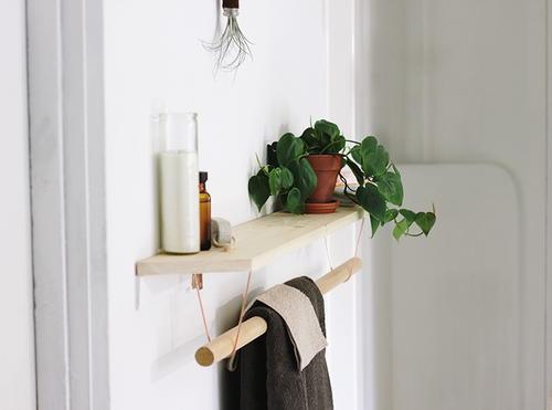 Modern Wood Towel Rack and Shelf | DIYIdeaCenter.com