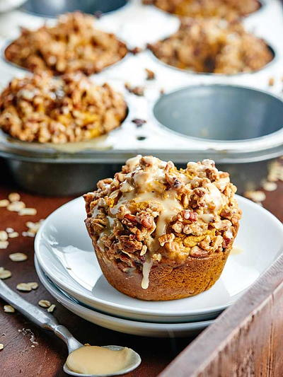 Pumpkin Streusel Muffins with Maple Glaze