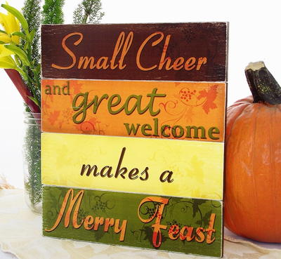 Merry Feast Decoupaged Thanksgiving Sign