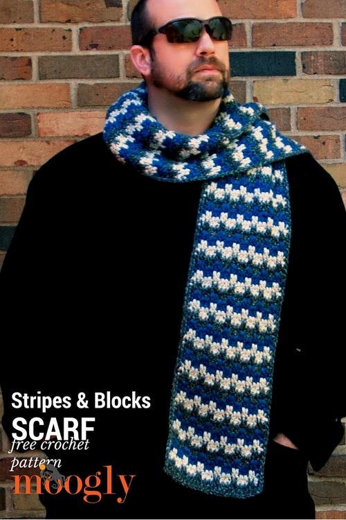 Stripes And Blocks Scarf Allfreecrochet
