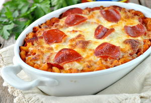 Dump and Bake Pizza Pasta Casserole