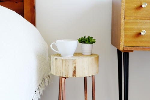 Modern Wood Slice and Copper Side Table
