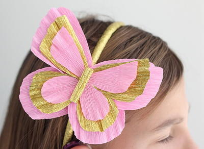 Crepe Paper Butterfly Headband