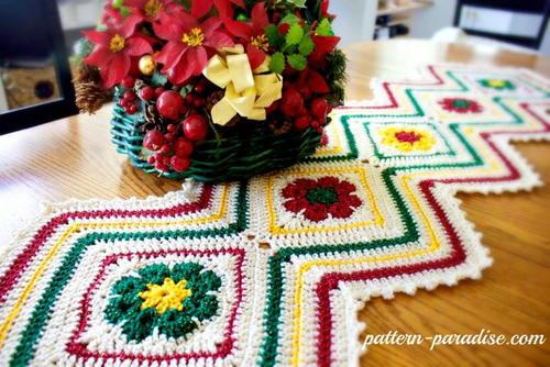Joyful Flowers Christmas Table Runner | AllFreeCrochet.com