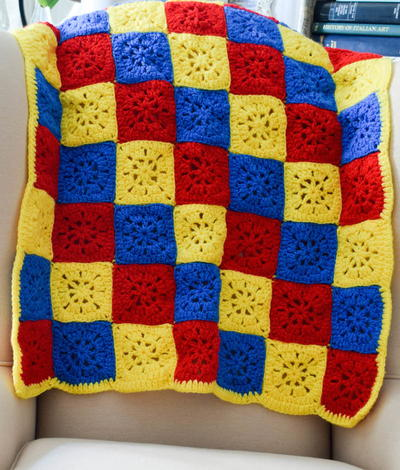 Checkerboard In Primary Colors Blanket Allfreecrochet