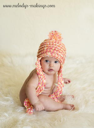 Spins and Ridges Earflap Crochet Baby Hat