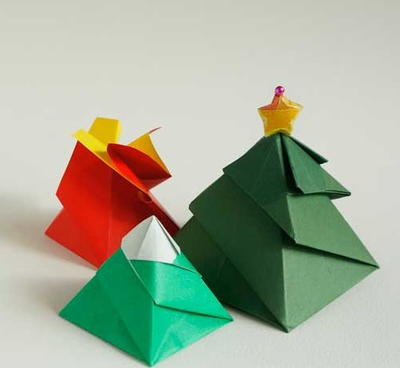 Christmas Tree Origami Gift Box Allfreepapercrafts