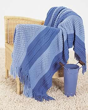 Sirdar Snuggly Knitting Patterns : Patterned Blue Blanket Knitting Pattern FaveCrafts.com