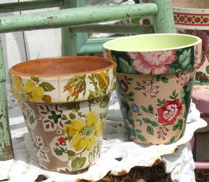 Wallpaper Decoupage Flawer Pots