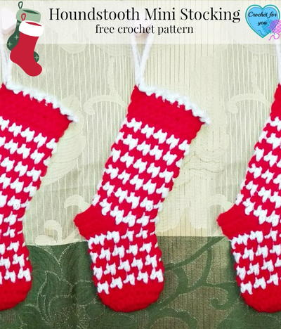 Houndstooth Crochet Stocking Pattern
