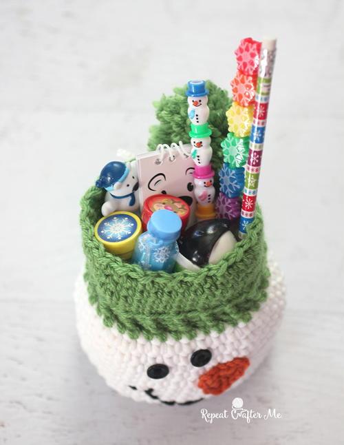 crochet snowman gift sack allfreecrochet com