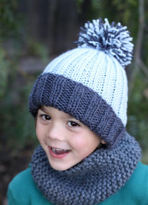 Beginner Easy Ribbed Pom Hat | AllFreeKnitting.com