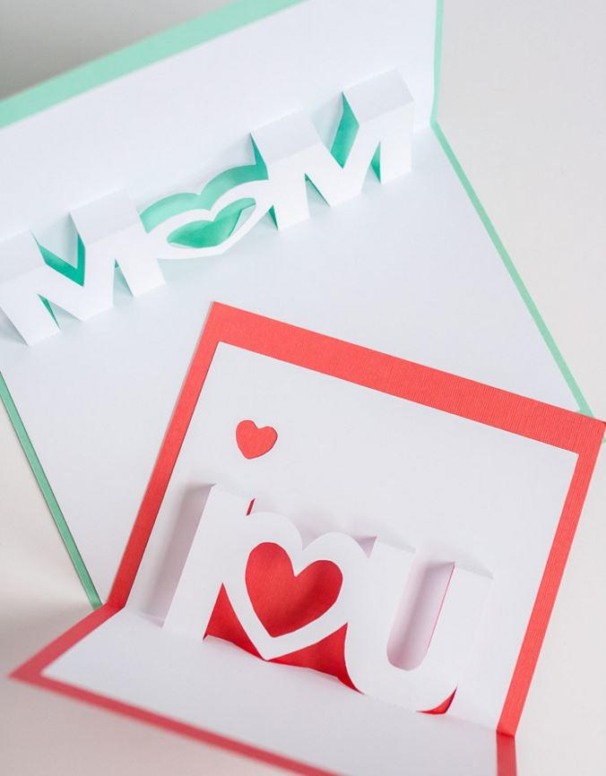 I Love You And Mom Pop Up Cards Allfreepapercrafts