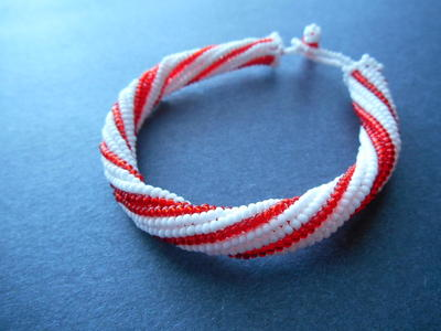 Candy Cane Herringbone Bangle