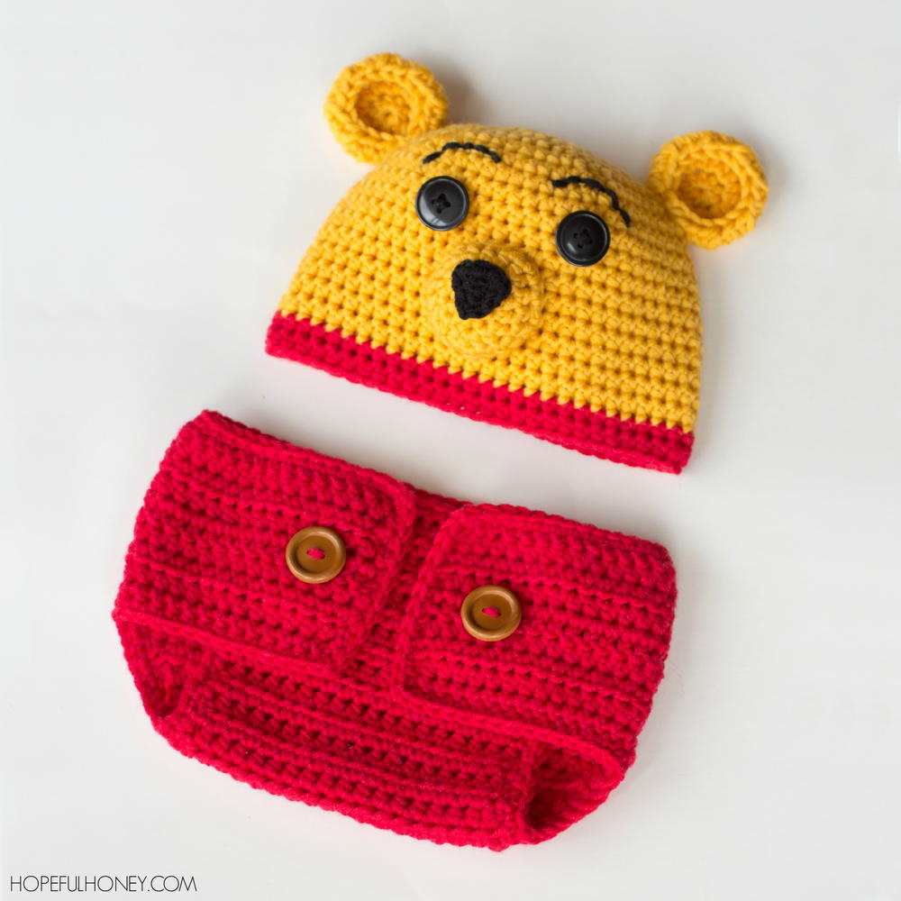 Winnie the pooh inspired hat diaper cover set allfreecrochet bankloansurffo Gallery