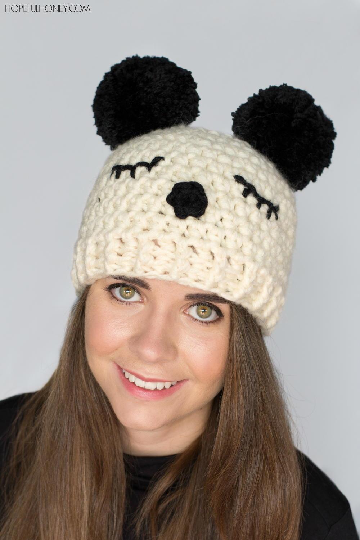 Panda Pom Pom Hat | AllFreeCrochet.com