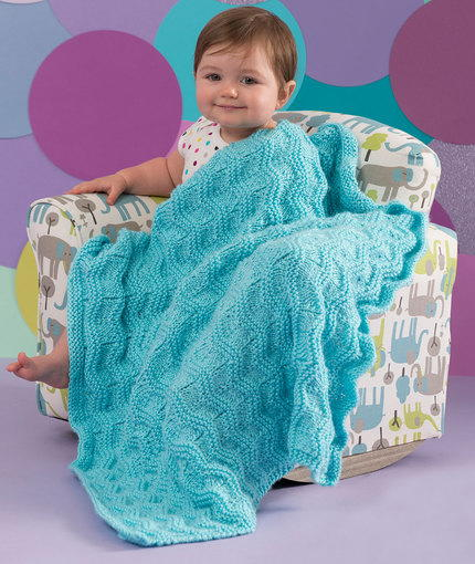 Free Knitting Pattern For Baby Blanket With Hearts : Lazy Wavy Baby Blanket AllFreeKnitting.com