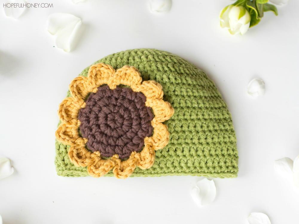Sunflower Crochet Baby Hat Allfreecrochet Com