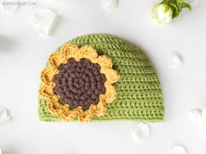 Sunflower Crochet Baby Hat