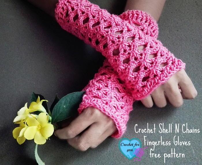 Crochet Shell Fingerless Gloves Favecrafts Com