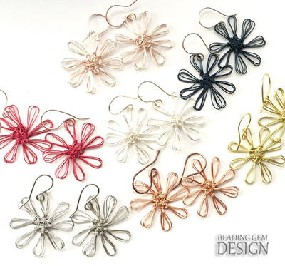 Easy Wire Flower Earrings Using a Loom