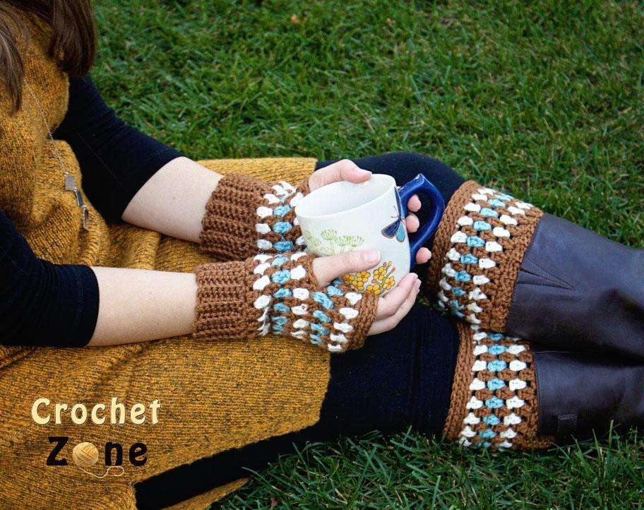 Diamonds And Gems Fingerless Gloves And Boot Cuffs Allfreecrochet