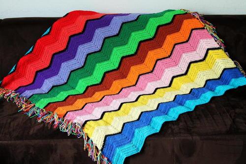 Retro Rainbow Ripple Crochet Afghan | AllFreeCrochetAfghanPatterns.com