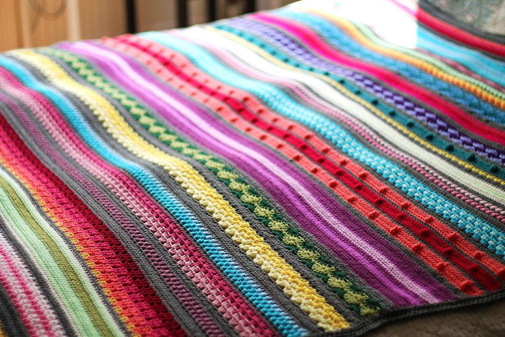 Colorful Rainbow Sampler Blanket Allfreecrochetafghanpatterns