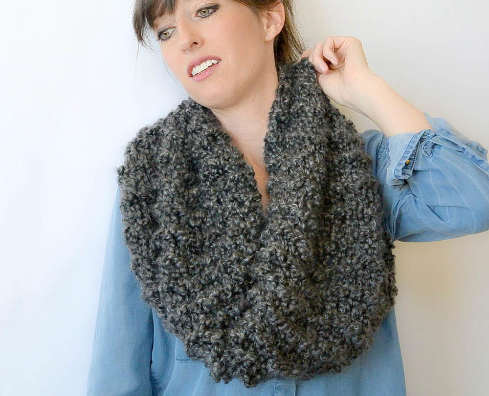 Knitting Patterns Scarves Cowls : Eiffel Beginner Knit Cowl Pattern FaveCrafts.com