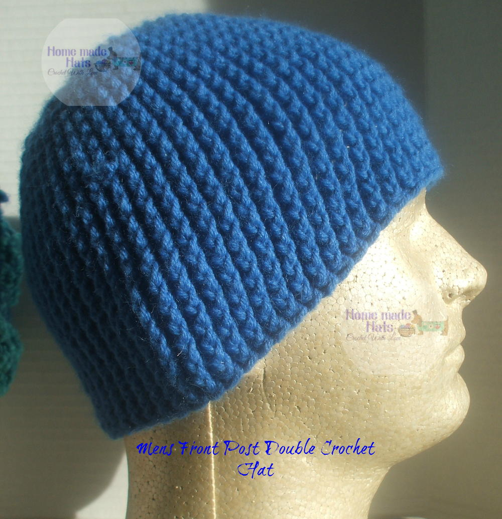 Mens Front Post Double Crochet Beanie | AllFreeCrochet.com