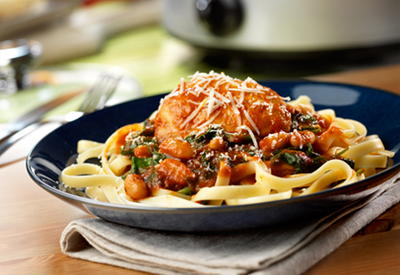 Italian-Style Chicken with White Beans  Spinach