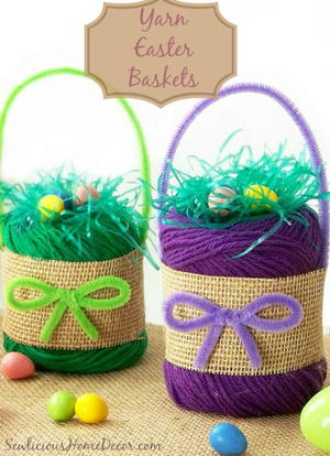 Yarn DIY Easter Baskets