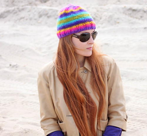 Rainbow Bright Striped Beanie