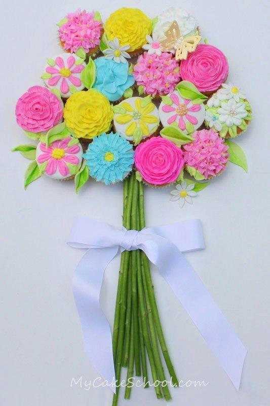 Cupcake Bouquet of Flowers | AllFreeDIYWeddings.com