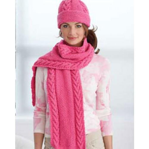 Pink Cabled Hat And Scarf Favecrafts