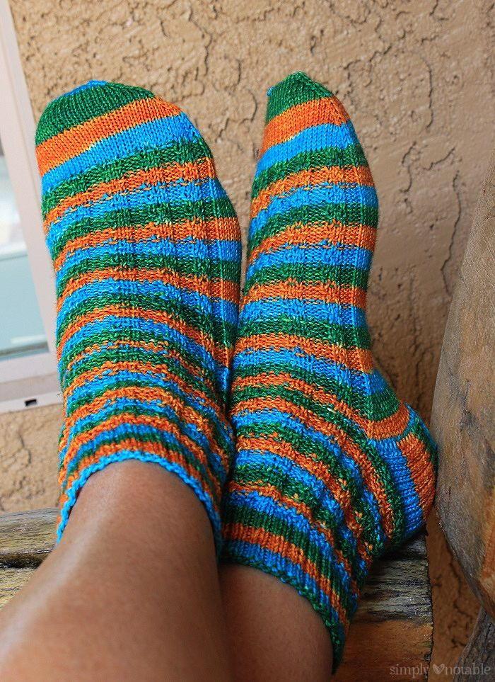 Knit Slip Stitch Afghan Pattern : Slip Stitch Striped Knit Socks AllFreeKnitting.com