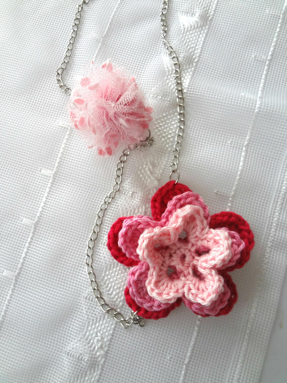 Free Crochet Wedding Jewelry Patterns : Pom-Pom and Crochet Flower Necklace AllFreeJewelryMaking.com