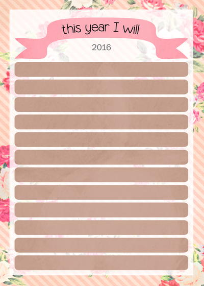 Goal Setting for 2016 Printable