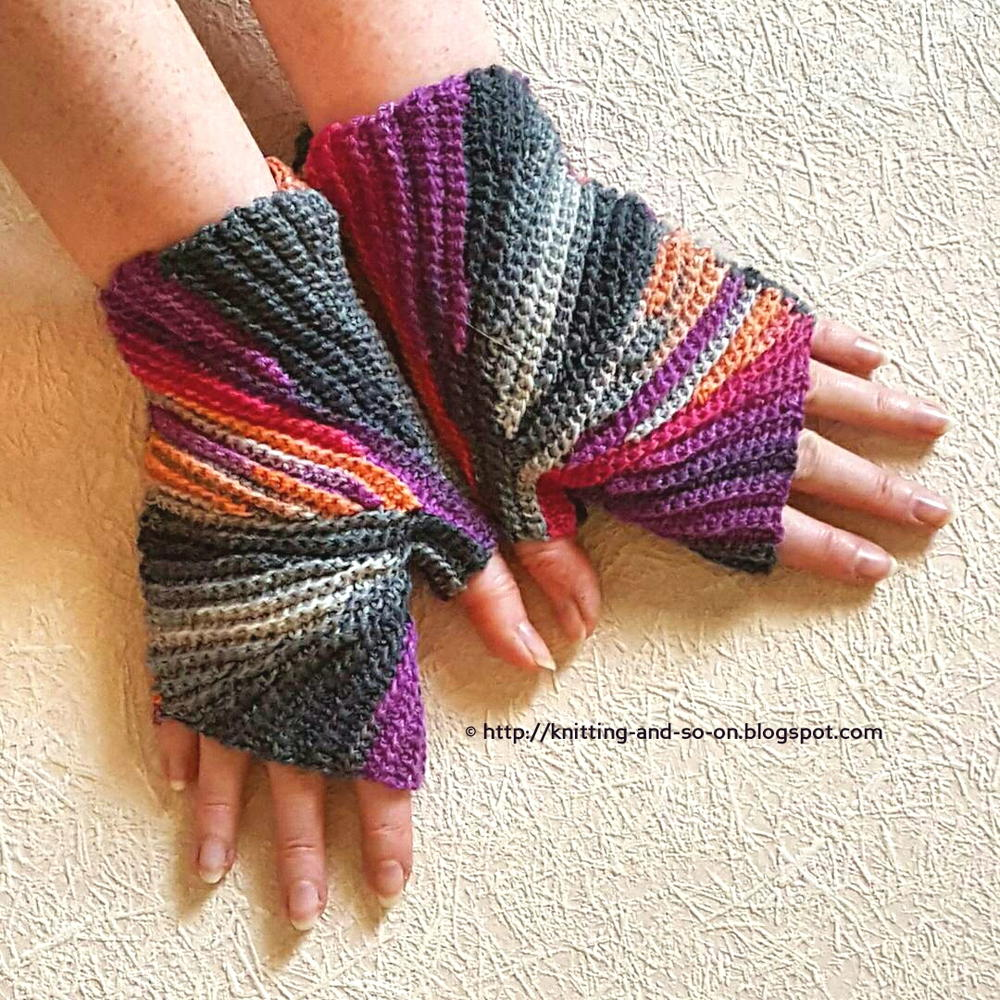 Free Crochet Patterns For Fingerless Gloves And Mitts : Sparkler Crochet Fingerless Mittens FaveCrafts.com