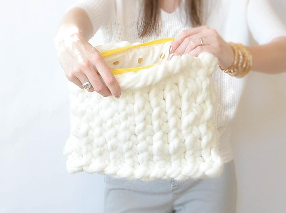 Plush Heart Knitting Pattern : Giant Yarn Plush Knit Bag FaveCrafts.com