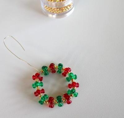 Beaded Wreath Ornament | AllFreeChristmasCrafts.com