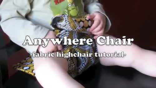 The anywhere chair turns a regular chair into a high chair. It.