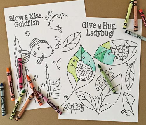 Goldfish and Ladybug Printable Coloring Pages | AllFreePaperCrafts.com