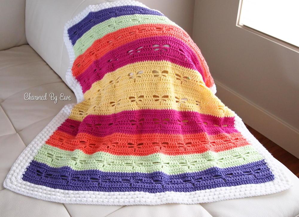 Crochet Pattern For Dragon Afghan : Dragonfly Crochet Blanket Pattern AllFreeCrochet.com
