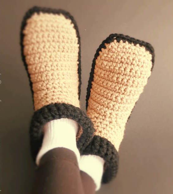 Easy Crocheted Adult Slippers | AllFreeCrochet.com