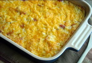 Cheesy Hashbrown Casserole with Ham
