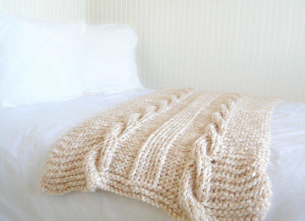 Knitting Patterns For Jumbo Needles : Endless Cables Knit Throw AllFreeKnitting.com