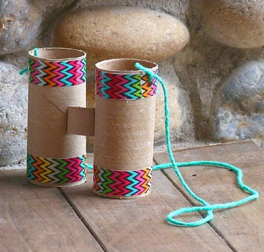 Toilet paper roll binoculars craft for Recycling toilet paper tubes