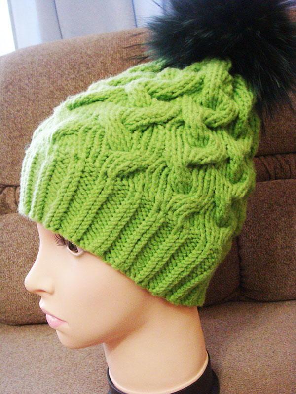 Loom Knit Rib Stitch Hat : Electric Green Cable Hat AllFreeKnitting.com