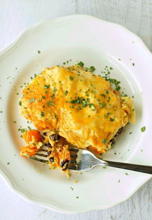Slow Cooker Chipotle Sweet Potato Enchiladas
